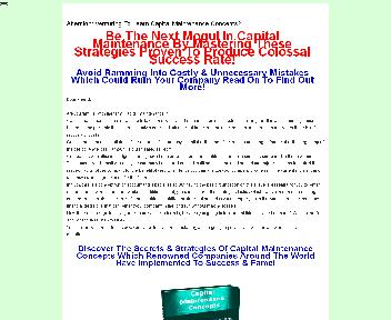Capital Maintenance Concepts  Comes with Master Resale Rights Coupon Codes