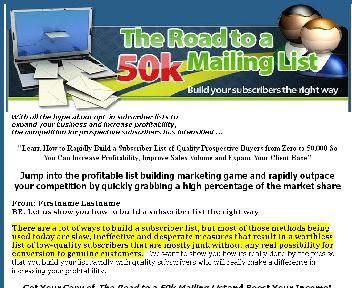 THE ROAD TO 50K MAILING LIST Coupon Codes