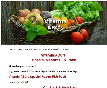 Vitamin ABC's Special Report PLR Pack Coupon Codes