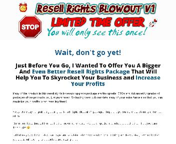 Resell Rights Blowout V1 OTO discount code