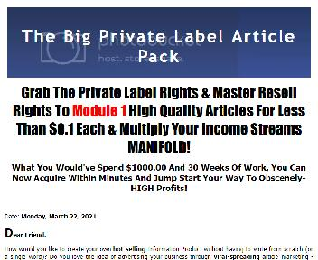 The Big Private Label Article Pack Coupon Codes