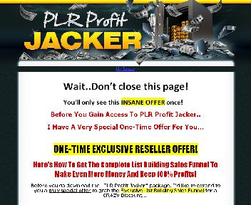 PLR Profit Jacker Video Series With Private Label Rights OTO discount code