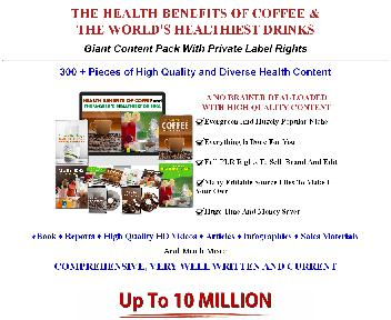 Health Benefits Of Coffee & World's Healthiest Drinks 300+ Piece PLR Coupon Codes