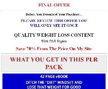 Weight Loss and Diet PLR Coupon Codes