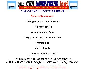 Your 1-Way SEO Advertising Board With Guaranteed Traffic Coupon Codes