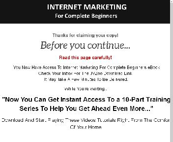 Internet Marketing For Complete Beginners Video Upgrade With MRR discount code