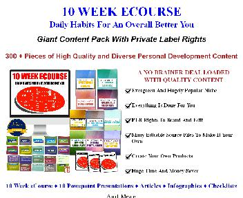 [Quality PLR] 10 Week/10 Part Ecourse: Life Habits For A Better You (Habits FE) discount code
