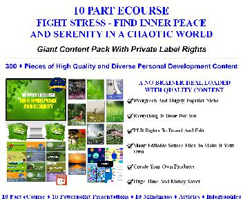 [Quality PLR] 10 Part eCourse: Combat Stress - Find Inner Peace/Serenity In A Chaotic World Giant PL discount code