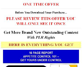 (Quality PLR] Appetite Control Giant Content Pack discount code