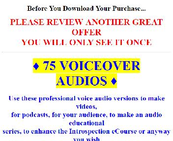 75 Audio Versions Of eCourses and Articles (Introspect OTO 2) discount code