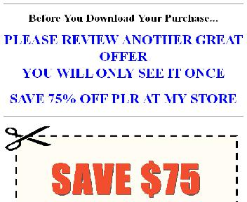 Save $75  $110 Worth Of Quality PLR For $35 (Life Threat OTO 2) discount code