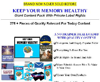 Keep Your Memory Healthy 275+ Piece PLR Pack Coupon Codes