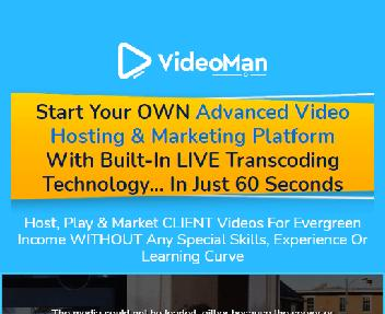 VIDEOMAN Commercial - HOST, Stream Lightning Fast Videos with Video Editor, Stock Assets & Video Re discount code