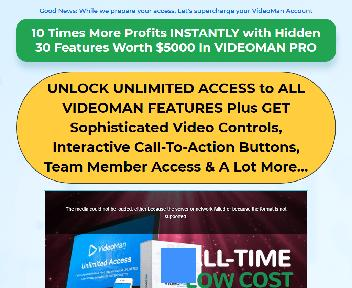 VIDEOMAN Pro UNLIMITED Commercial - Scale Your Profits With Custom Video Controls And Interactive C discount code