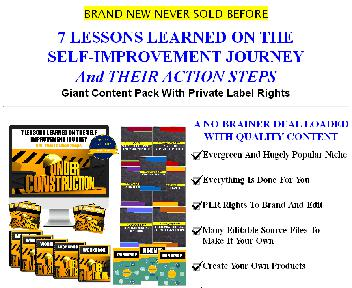 [Quality Giant PLR] 7 Lessons Learned On The Self Improvement Journey & Action Steps -  300+ Piece P discount code