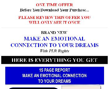 (Quality PLR] Make An Emotional Connection To Your Dreams Giant Content Pack discount code