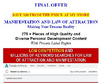 [Quality PLR] Manifestation/Law Of Attraction: Making Your Desires Reality  (7 Lessons OTO 3) discount code