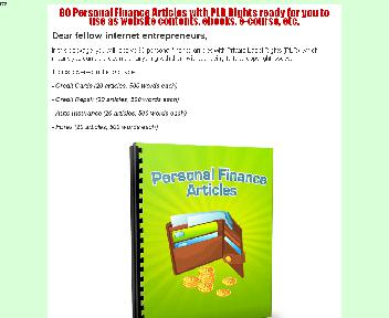 80 Finance Article With PLR Coupon Codes