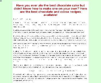 Chocolate and  Cocoa recipes Coupon Codes