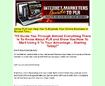Internet Marketers Guide to PLR (Official) discount code